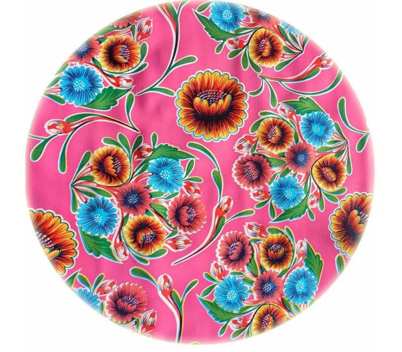 Rond tafelzeil 120cm floral fuchsia