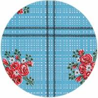 Mexicaans Tafelzeil Rond - Ø 120 cm - Boeketje - Lichtblauw