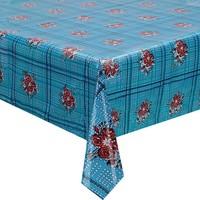 Rond tafelzeil 120cm boeketje lichtblauw