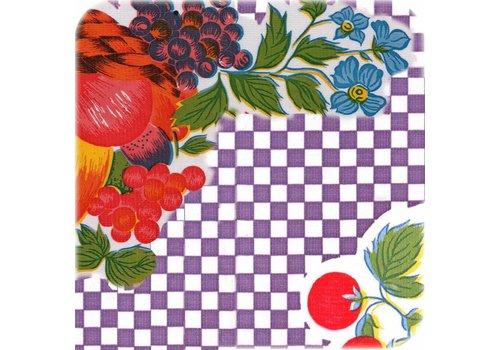 MixMamas Tafelzeil op rol ruitje paars met bloemen en fRuit 11m,
