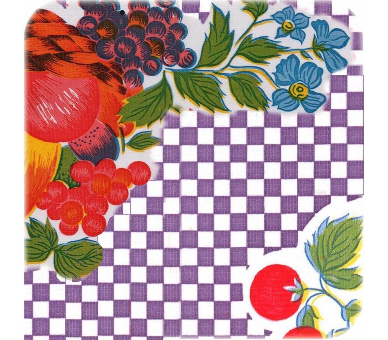 Mexicaans tafelzeil op rol 11m ruitje paars met bloemen en fRuit 11m.