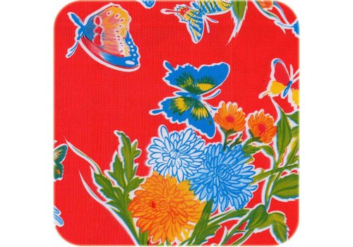 MixMamas Tafelzeil Vlinder - 120 x 300 cm - Rood