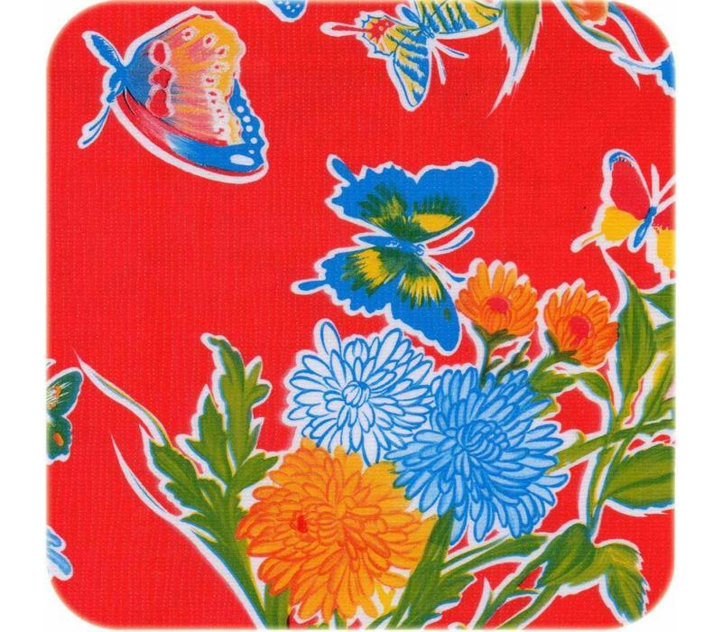 Mexicaans Tafelzeil 3m bij 1,20m Vlinder rood