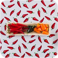 Mexicaans Tafelzeil Chili Pepers - Rol - 120 cm x 11 m - Wit/Rood