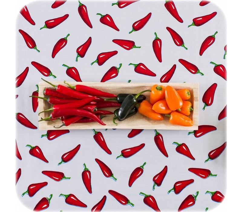 Mexicaans tafelzeil op rol Chilis rood op wit 11m.