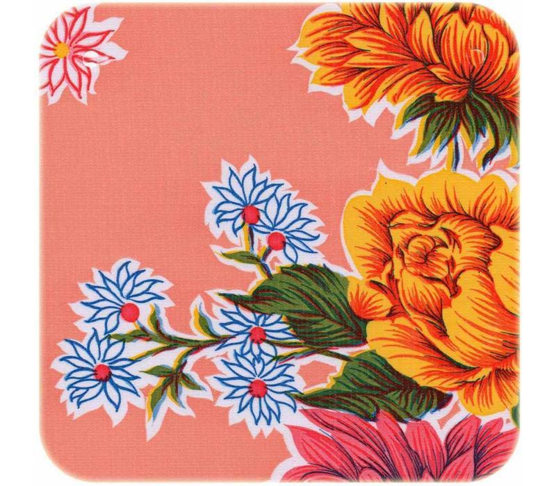 Mexicaans Tafelzeil 3m bij 1,20m Chrysant zalmrose