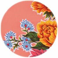 Rond tafelzeil 120cm Chrysant zalmrose