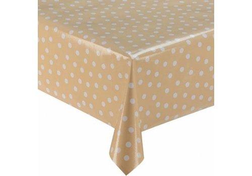 MixMamas Tafelzeil 2m beige met witte stippen