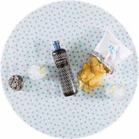 Rond tafelzeil 120cm wit met lichtblauwe stip rond