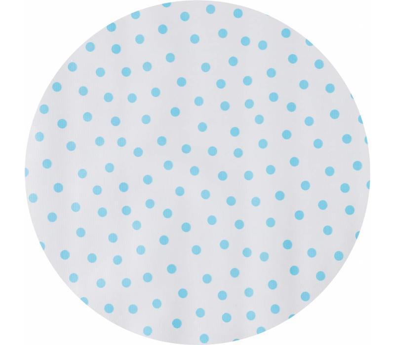Mexicaans Tafelzeil Rond - Ø 120 cm - Stippen - Wit/Lichtblauw