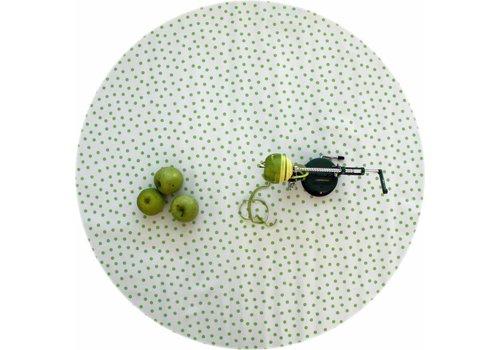 MixMamas Rond tafelzeil 120cm Wit met lichtgroene stip rond