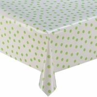 Rond tafelzeil 120cm wit met lichtgroene stip rond
