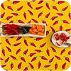 MixMamas Mexicaans tafelzeil 2m bij 1.20m, Chili pepers geel met rood