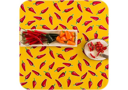 MixMamas Tafelzeil Chili pepers - 120 x 200 cm - Geel/Rood
