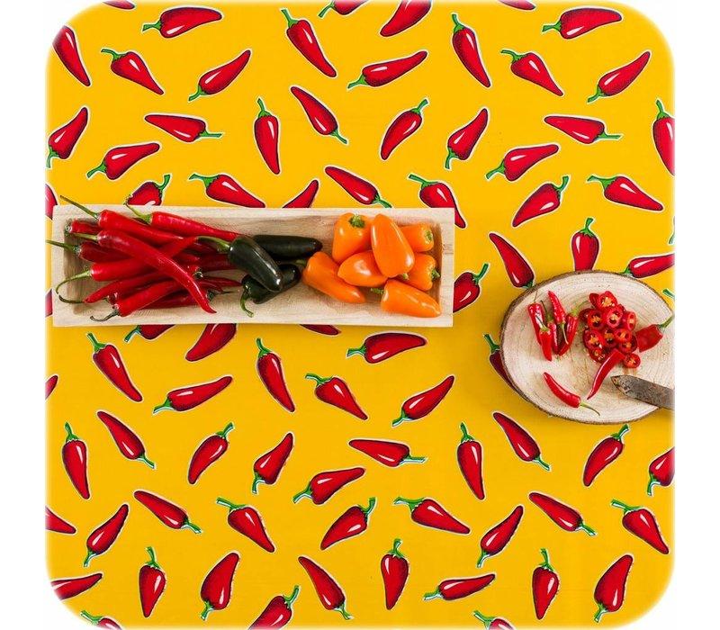 Mexicaans Tafelzeil 3m bij 1,20m Chili pepers rood op geel