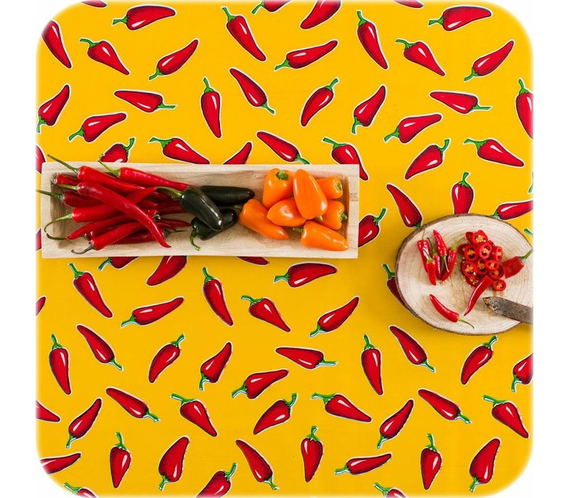 Tafelzeil Chili pepers - 120 x 300 cm - Geel/Rood