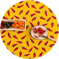 Rond tafelzeil 120cm rond chilis geel met rood