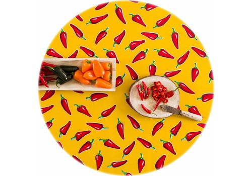 MixMamas Rond tafelzeil 120cm rond Chilis geel met rood