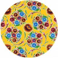 Rond tafelzeil 120cm floral, bloom geel rond