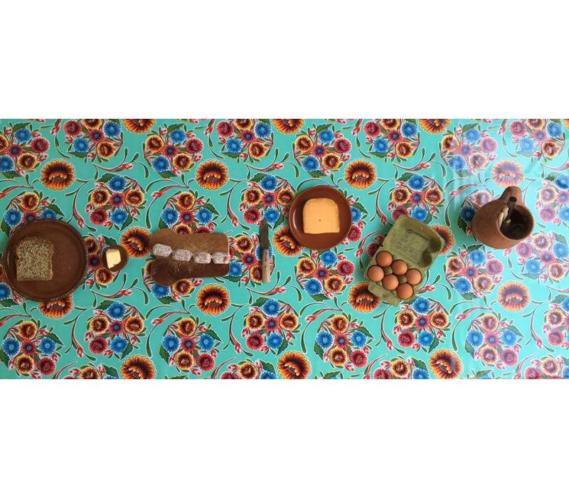 Mexicaans Tafelzeil Gebloemd Floral - 120 x 200 cm - Mintgroen
