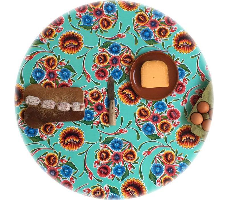 Mexicaans Tafelzeil Rond - Ø 120 cm - Gebloemd Floral - Mintgroen