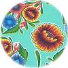 MixMamas Tafelzeil Rond - Ø 120 cm - Bloom / Floral - Mintgroen