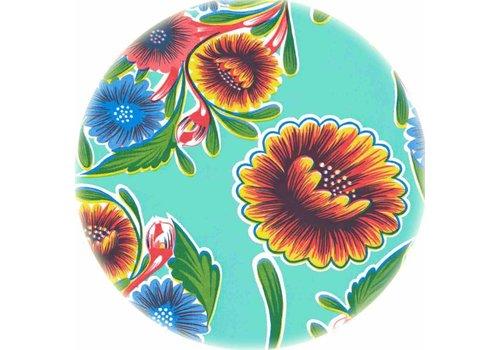 MixMamas Tafelzeil Rond - Ø 120 cm - Floral - Mintgroen