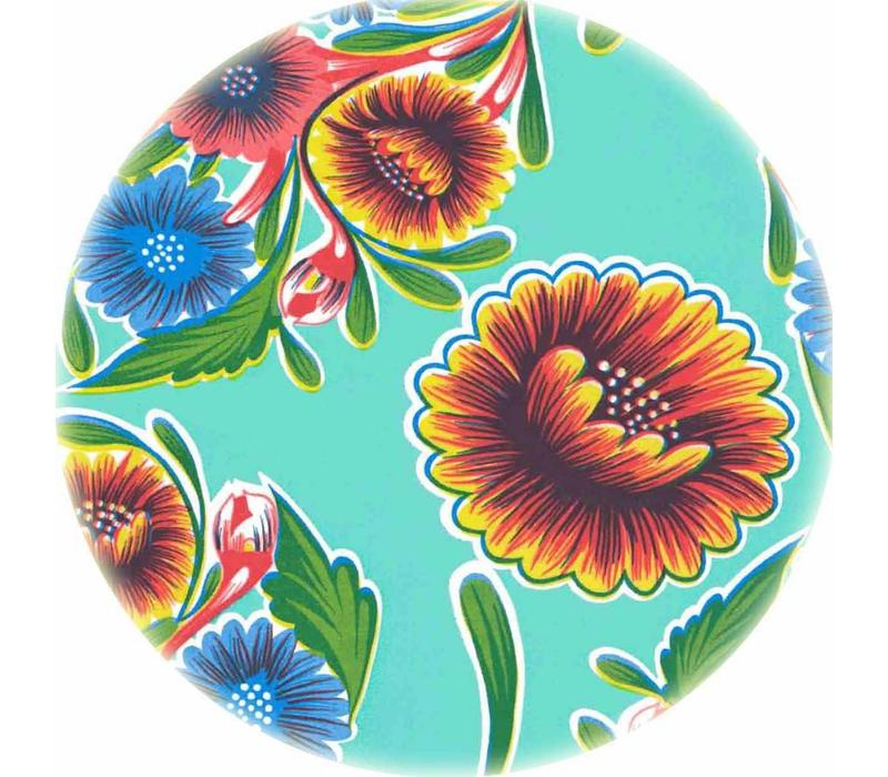 Rond tafelzeil 120cm floral, bloom mintgroen rond