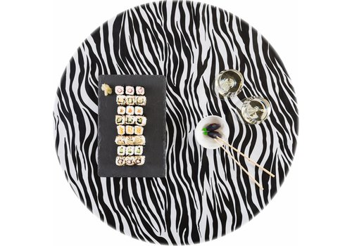 MixMamas Tafelzeil Rond - Ø 120 cm - Zebra - Zwart