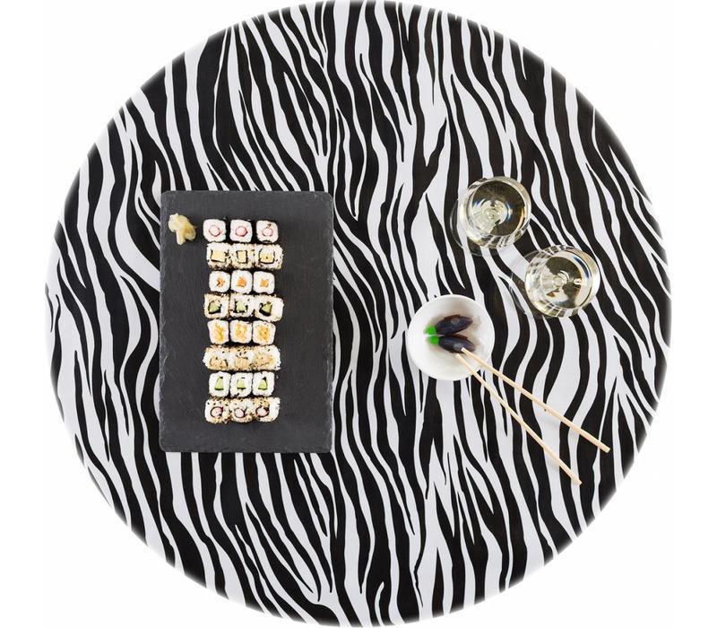Tafelzeil Rond - Ø 120 cm - Zebra - Zwart
