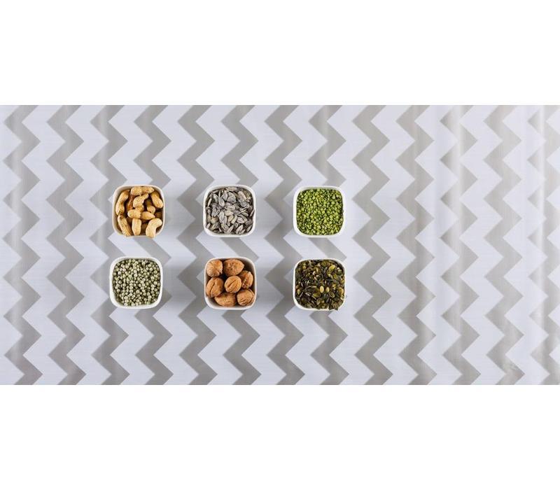 Mexicaans tafelzeil 2m bij 1.20m, Zigzag zilver