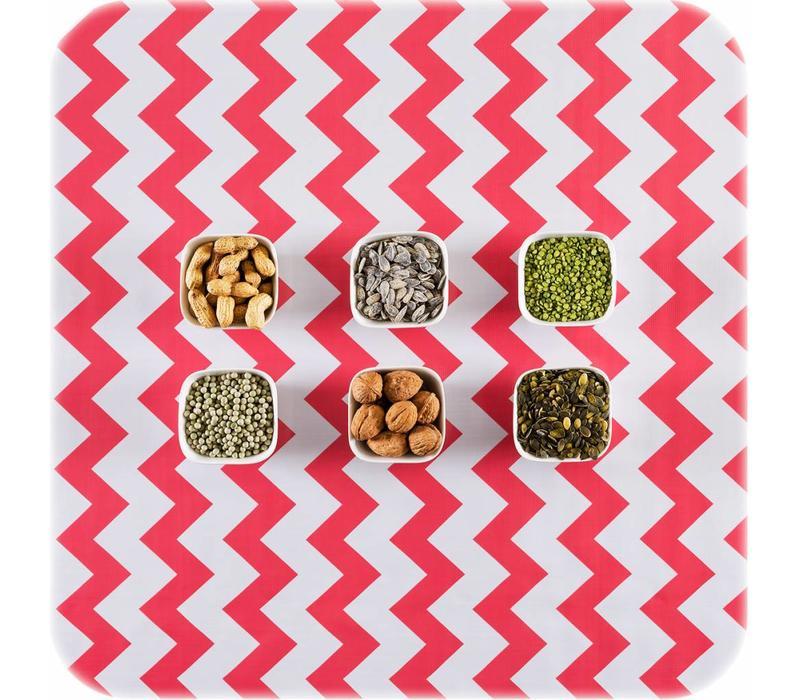 Mexicaans Tafelzeil Zigzag - 120 x 300 cm - Koraalrood