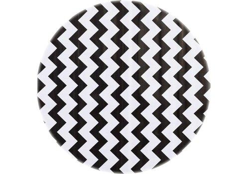 MixMamas Tafelzeil Rond - Ø 120 cm - Zigzag - Zwart