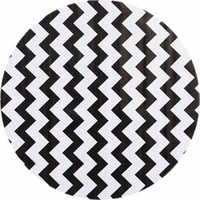 Tafelzeil Rond - Ø 120 cm - Zigzag - Zwart