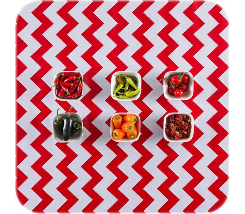 Mexicaans Tafelzeil Zigzag - 120 x 300 cm - Rood