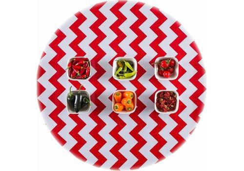 MixMamas Rond tafelzeil 120cm Zigzag rood