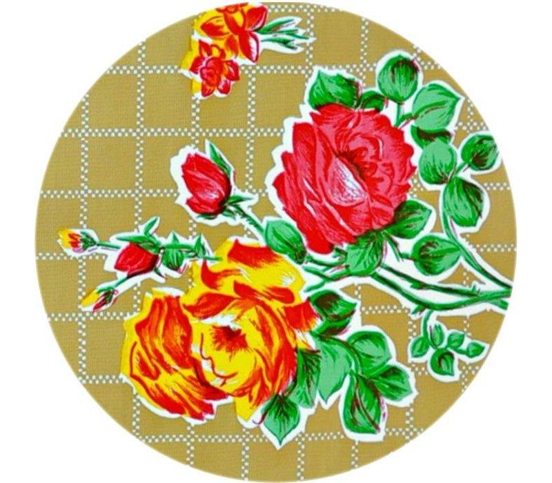 Rond tafelzeil 120cm rosedal beige / mosterd