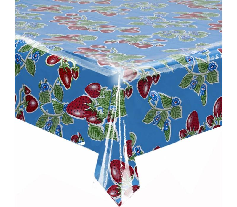 Rond tafelzeil 120cm aardbei blauw