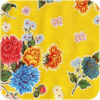 Rond tafelzeil 120cm Chrysant geel