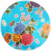 Rond tafelzeil 120cm Chrysant lichtblauw