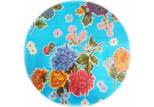 MixMamas Tafelzeil Rond - Ø 120 cm - Chrysant - Lichtblauw