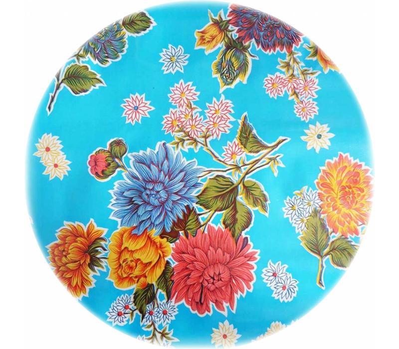 Mexicaans Tafelzeil Rond - Ø 120 cm - Chrysant - Lichtblauw