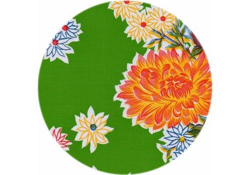 MixMamas Rond tafelzeil 120cm Chrysant lichtgroen