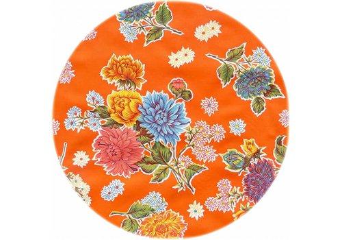 MixMamas Tafelzeil Rond - Ø 120 cm - Chrysant - Oranje