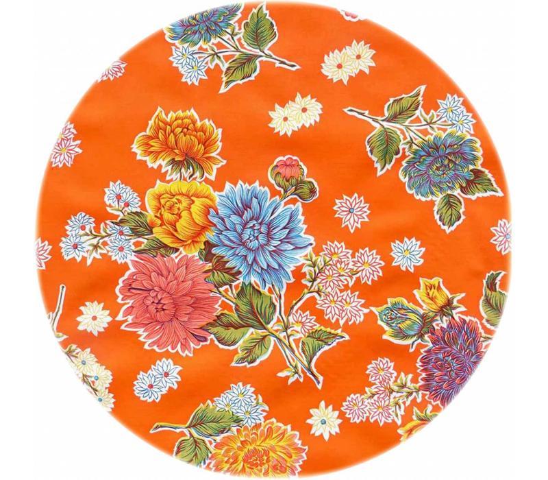 Rond tafelzeil 120cm Chrysant oranje
