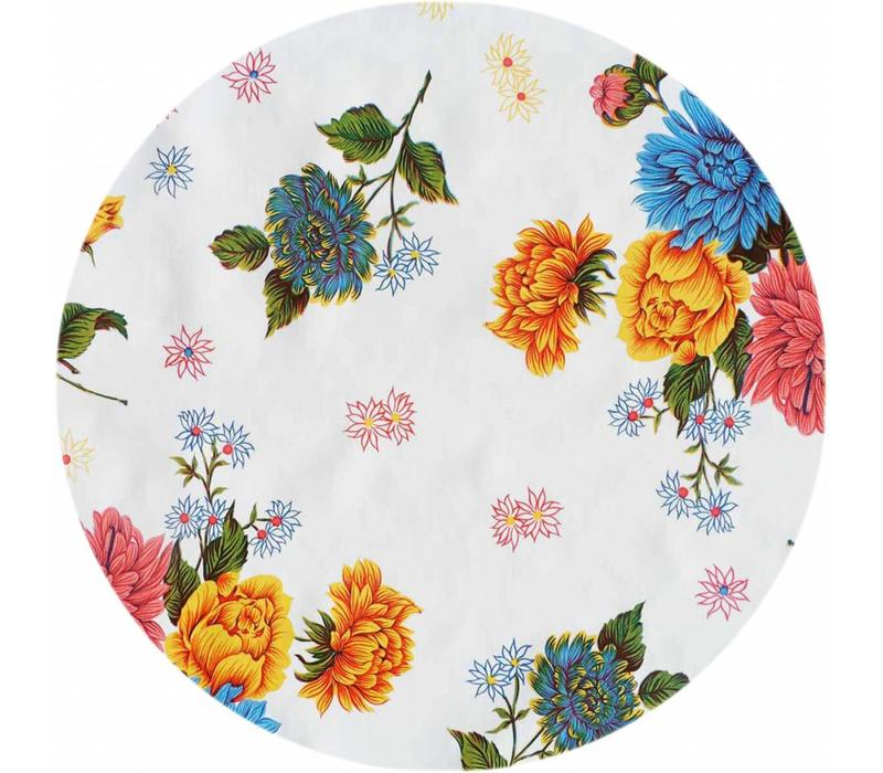 Rond tafelzeil 120cm Chrysant wit