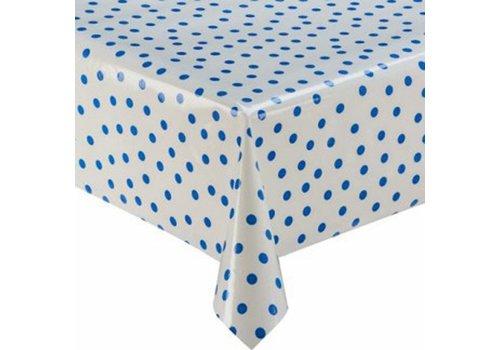 MixMamas Tafelzeil 2m Wit met donkerblauwe stippen