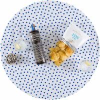 Rond tafelzeil 120cm Stippen wit met donkerblauw