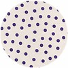 MixMamas Rond tafelzeil 120cm Stippen wit met paars SALE
