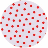 Rond tafelzeil 120cm Stippen wit met rood